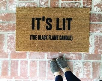 It's LIT (The black flame candle) Doormat, Hocus Pocus, Sanderson Sisters, Black Flame Candle, Doormats, Shop Josie B