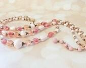 Vintage  Multistrand  Necklace - Vintage Wedding Jewelry - Pink Crackle Glass Necklace - Rockabilly Gift For Her - Mad Men - Summer Necklace