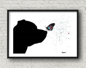 Serenity II.  Art print.  Staffordshire Bull Terrier with Butterfly