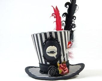 Gothic mini Hat Strip - vampire + roses - headpiece