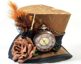 Steampunk mini Hat - Brocade - Pocket Watch + roses - Fascinators - headpiece