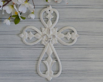 Fleur-De-Lis Cross. Fleur de lis Cross. Crucifix. Wall Decor. Religious Decor. Metal Wall Decor. Victorian Decor. New Orleans. Vintage Decor