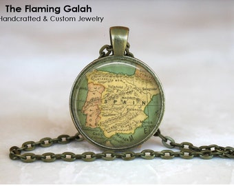SPAIN Map Pendant • Vintage Spanish Map • Español • Map of Spain • Gift Under 20 • Gift Under 20 • Made in Australia (P0501)