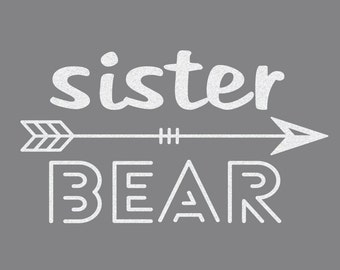 Sister Bear Iron On Decal