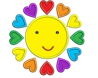 Happy Sun With Hearts Machine Embroidery Applique Design Digitized Pattern - Instant Download