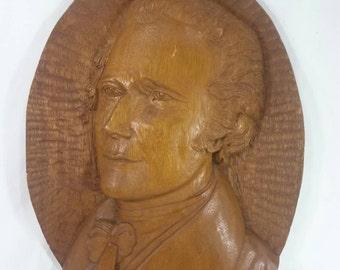 Antique folk art hand carved wood Alexander Hamilton president bust portrait 3d picture
