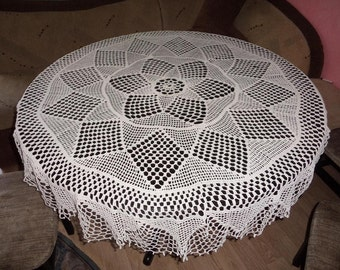 Vintage Crochet Tablecloth, Crochet Tablecloth from 1970, Handmade, White Cotton Tablecloth, Round crochet Tablecloth, 57.5 in
