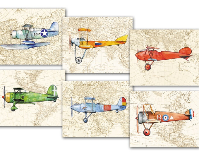 Airplane on vintage world map prints Military airplanes watercolor Prop aircrafts Set 6 prints Retro airplane decor Boy's nursery wall art