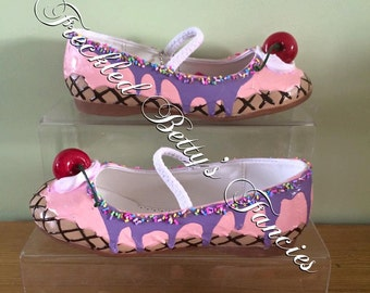 Girls Ice Cream Shoes - MADE TO ORDER