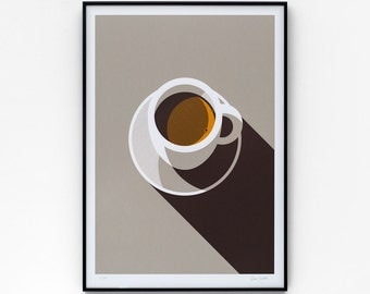 Espresso A2 limited edition screen print, hand-printed in 3 colours