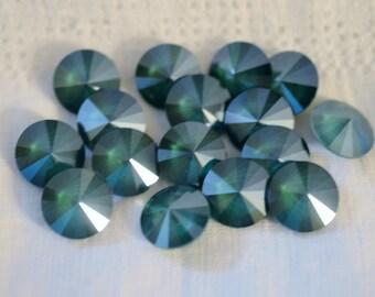 6 ~ Royal Green 12mm SWAROVSKI ELEMENTS crystal 1122 Crystal Rivolis