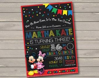 Mickey & Minnie Mouse Birthday Party Invitation
