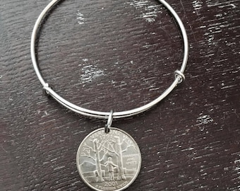 Vermont state quarter expandable wire bangle bracelet