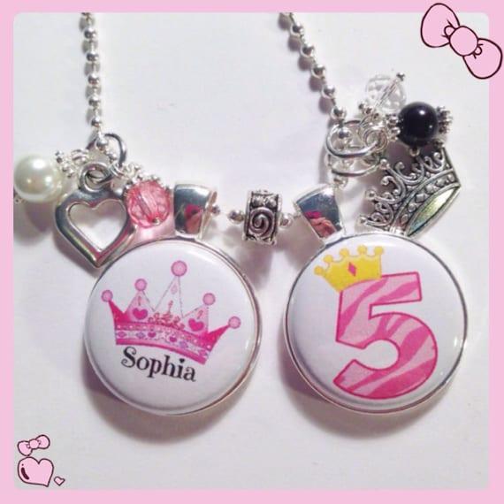 5th BIRTHDAY GIRL Charm NecklacePRINCESS By