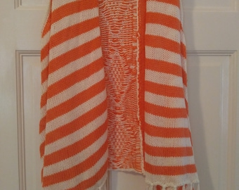 Knit Orange and white vest