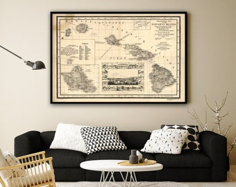 "1893 Hawaii Islands map, Vintage Hawaiian map reprint - home decor  - 2 color choices & 4 large/XL sizes up to 54""x36"""