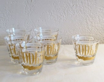 Retro Vodka & Glasses Set of 6