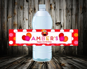 Elmo Water Bottle Label, Elmo Water Bottle Wrapper, sesame street water bottle label