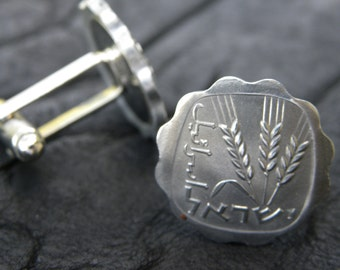 Jewish Authentic one agaro coin from Israel cuff links for Jewish Men nice gift for Hanukkah