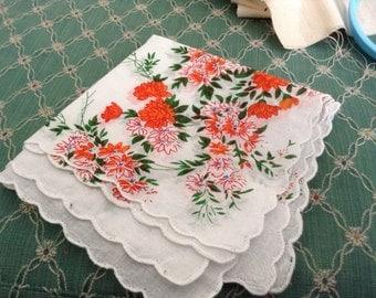 2 Cotton Orange Floral Hankies