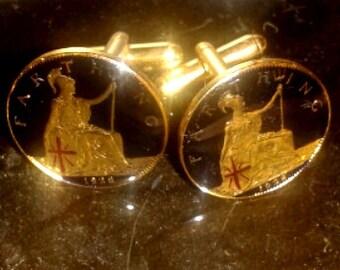 farthing cuff links 1928 Enamel  gold plated