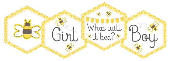 Bee Gender Reveal Baby Shower Printable Cupcake Toppers Tag Label Pick Sticker What Will It INSTANT DOWNLOAD Pdf