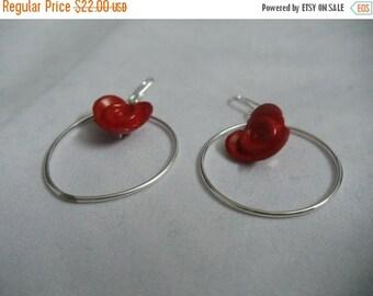 Red lotus hoop earrings