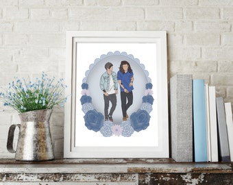 I Love You, It's All I Do - One Direction Print - Larry Stylinson - Harry Styles - Louis Tomlinson - Blue - Flowers
