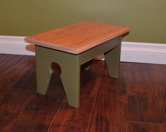 Green Foot Stool / Step Stool / Kids seat with Cherry top -- Many Colors and Wood Choices Available