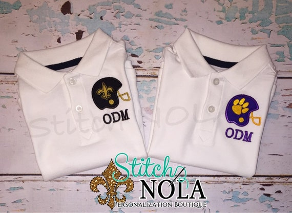 BUY 2 and SAVE!! Monogrammed Collared Shirt with Helmet Applique