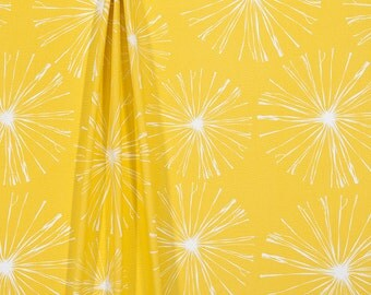 Sunny Yellow Dandelion Puffs Indoor Outdoor Fabric by the Yard Designer Curtain Fabric Cushion Fabric Pillow Fabric Yellow Fabric 601