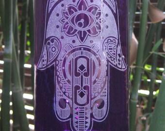 Hamsa Hand, Violet Etched Glass Bottle