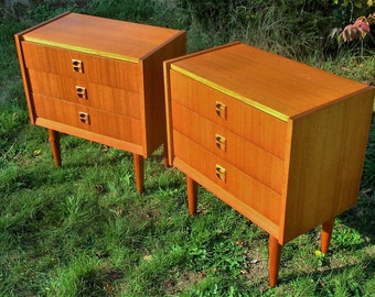 Pair Teak Danish Mid Century Modern Nightstands Chest of Drawers End tables