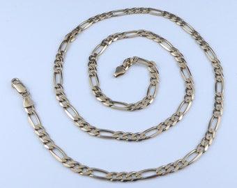 9ct Gold Figaro chain necklace - hallmarked 375