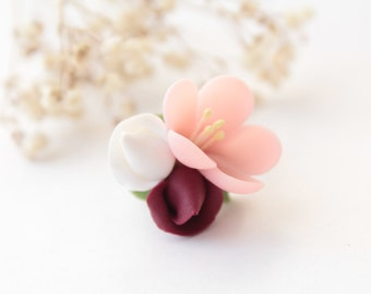 Cherry blossom ring, romantic ring, tender blossom ring, pale pink ring, adjustable ring, red rose ring, marsala, polymer clay, sakura ring