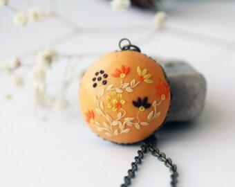 Orange Brown Necklace, Orange Bridesmaid Jewelry Vintage orange Necklace orange wedding Necklaces Victorian Jewelry Orange Pendant