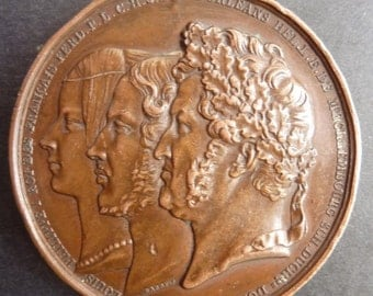Scarce French Historical Medal Of Louis-Phillipe I. The Baptism of The Duke Of Paris In 1841