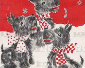 Retro Terrier  Black Scottie Dogs Singing Christmas Card #405 Digital Download