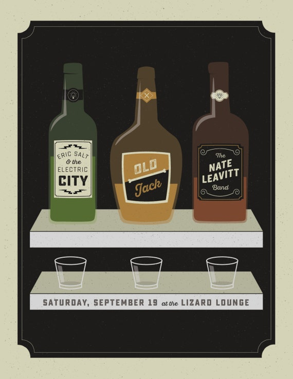 Eric Salt / Oldjack / Nate Leavitt gig poster  // Lizard Lounge, Cambridge