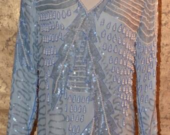 Vintage Estate Chanson D'Amour Light Blue White Sequin Beaded Dress