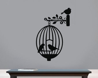 Bird Cage Vinyl Wall Decal, Birds and Cage Vinyl Wall Decal, Vinyl  Bird Cage Silhouette