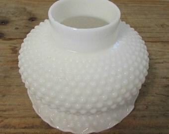 Lamp Shade, Bumpy Milk Glass, Fluted Edge