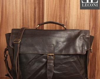 LECONI Briefcase business bag Messenger bag Messenger bag vintage leather dark brown LE3008-wax
