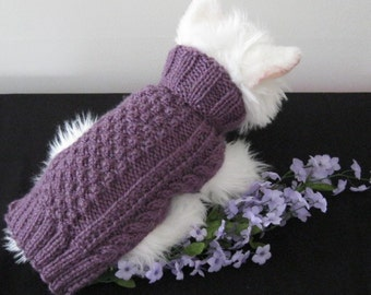 SMALL dog sweater in a luscious dusty purple and pretty pattern.  This sweater is medium weight and good for all seasons.