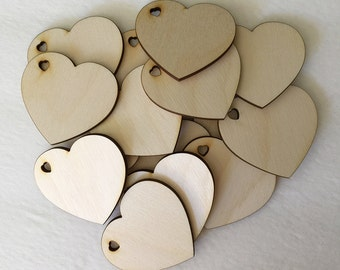 "Wood Hearts - 25 - 2.5"" unfinished wooden hearts with heart shaped cutout hole for weddings, crafts and more"