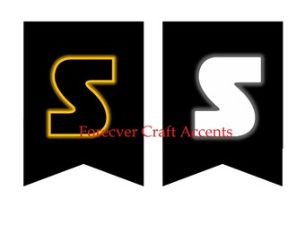 Star Wars, Digital Download, Party Banner,  Letters & Numerals,  Yellow, Black