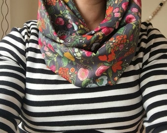 Infinity scarf woman, orange floral, cotton voile very lightweight