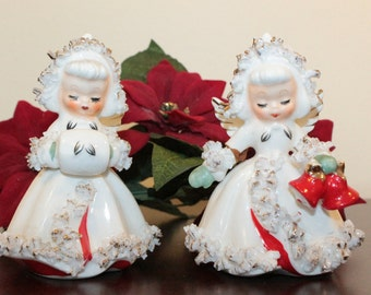 TWO – Pair of Howard Holt Ermine Angel Candleholders – Marked 1958 –Damaged