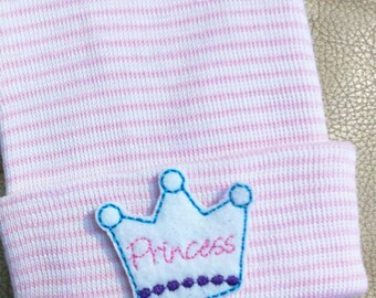 Newborn Hospital Hat.  Newborn Hospital Beanie.  PRINCESS Baby's 1st Keepsake! Perfect for your new Princess! Great Gift and cute photo prop