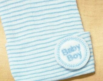 A Best Seller! Newborn Hospital Hat. Baby Boy BABY BOY. Newborn Beanie. Every New Baby Boy Should Have! Adorable!